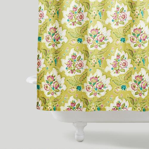 Floral Citron Leaf Shower Curtain