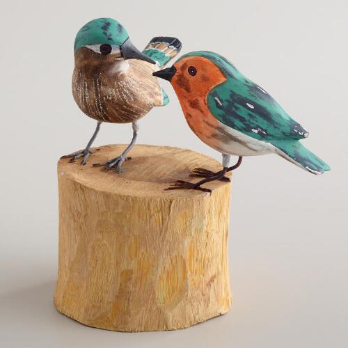Wooden Perched Songbirds Décor