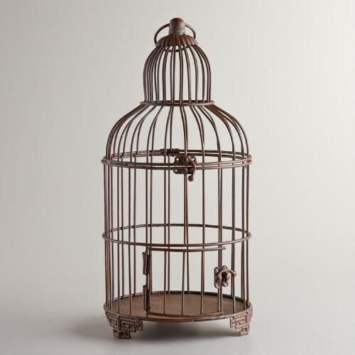 Dark Black Iron Birdcage Decor