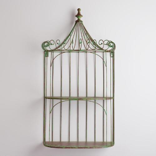 Green Shelf Birdcage Decor