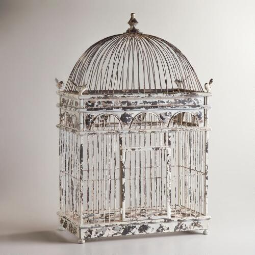 Ivory Tabletop Birdcage Decor