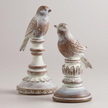 Whitewash Wood Finish Bird Finials, Set of 2