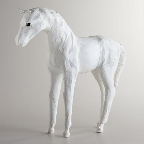 White Canvas Horse Decor