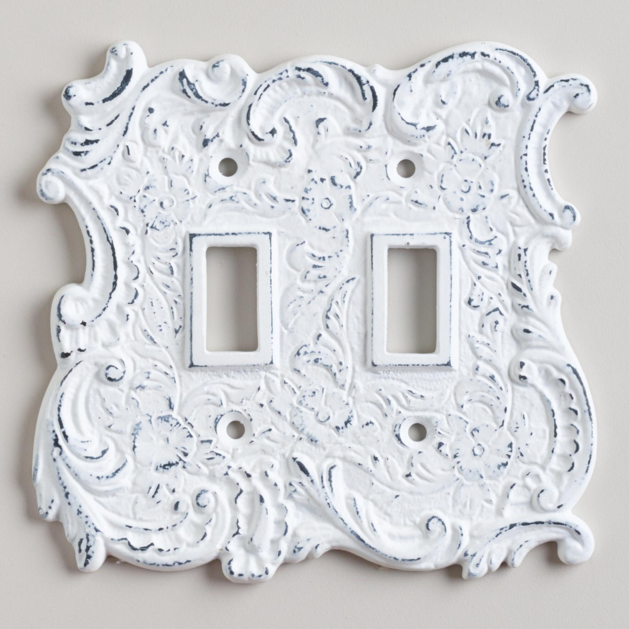 White cast iron double switch plate world market - Wall switch plates decorative ...
