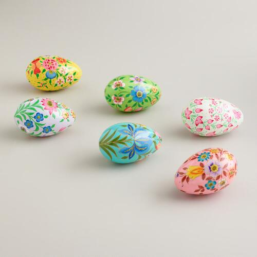 "4.5"" Paper Mache Eggs, Set of 6"