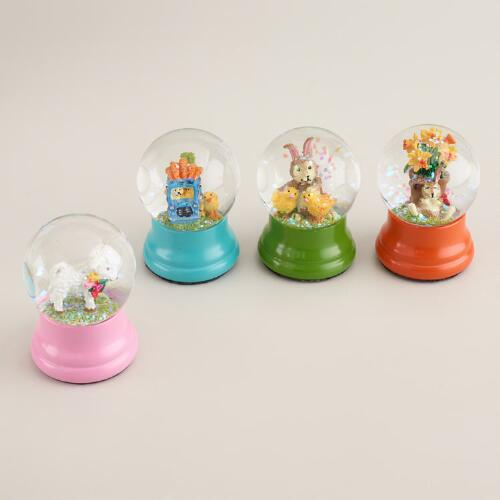 Mini Easter Water Globes, Set of 4