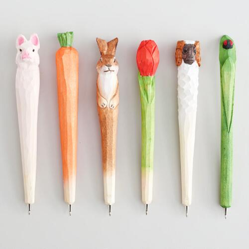 Wood Easter Pens, Set of 6