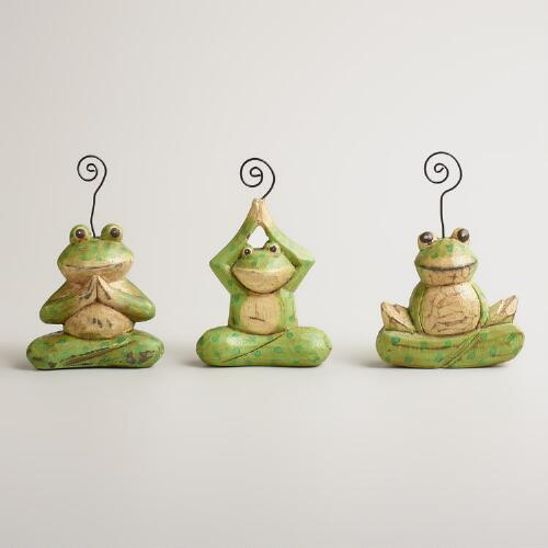 Wooden Yoga Frogs Place Card Holders, Set of 3
