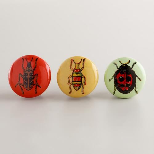 Insect Decal Ceramic Knobs, Set of 3