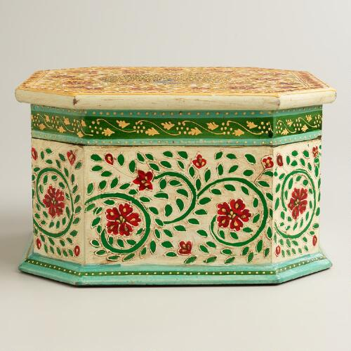 Octagonal Wood Peacock Box