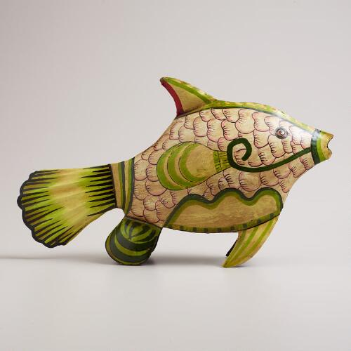 Green Metal Aegean Fish Decor