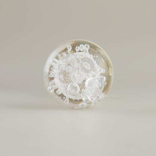 Small Clear Glass Bubble Knobs, Set of 2