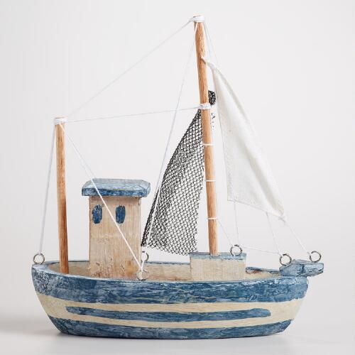 Wood Fishing Boat Decor
