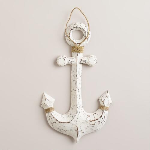 White Wood Anchor Decor