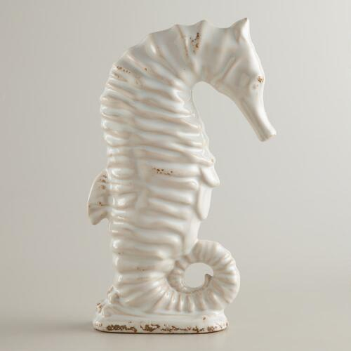 "11.5"" Antique White Ceramic Seahorse"