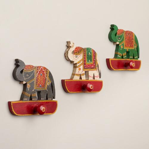 Painted Indian Animal Hooks, Set of 3