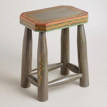 Gray Painted Stool