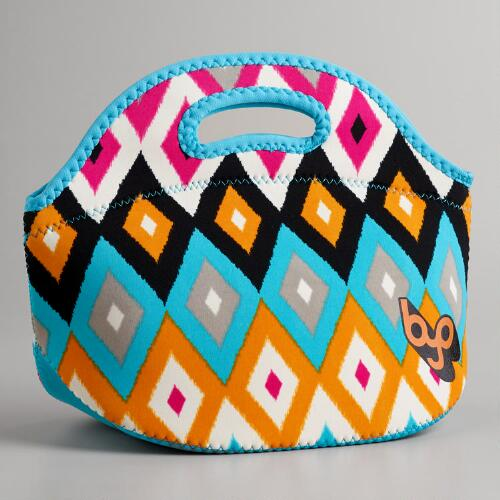 Pink Ikat Neoprene Lunch Bag