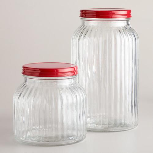 Small Ribbed Jar with Red Lid