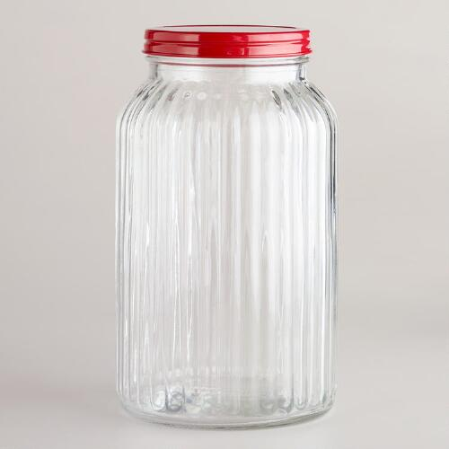 Large Ribbed Jar with Red Lid