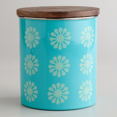 Aqua Floral Canister with Wood Lid