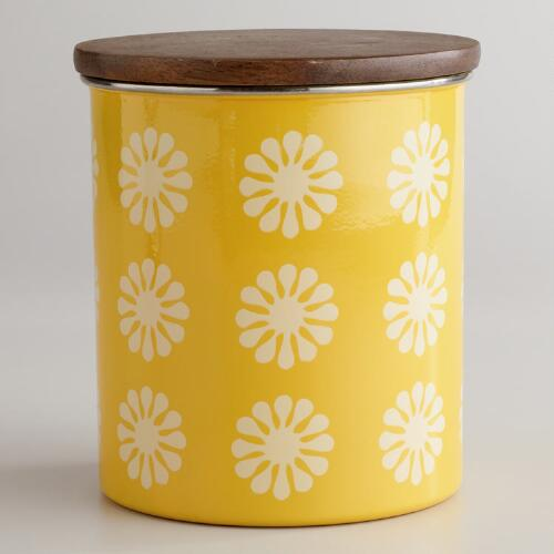 Yellow Floral Canister with Wood Lid