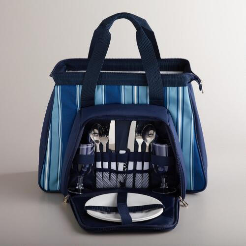 Navy Striped Insulated Picnic Pack