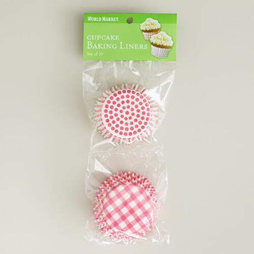 Pink Dots and Gingham Baking Cups, 50-Count