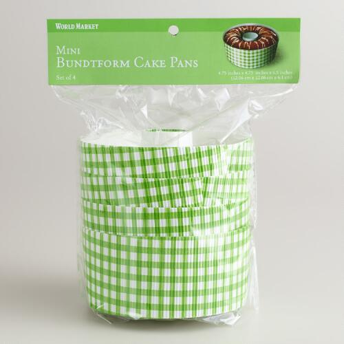 Green Gingham Bundform Pans, Set of 4
