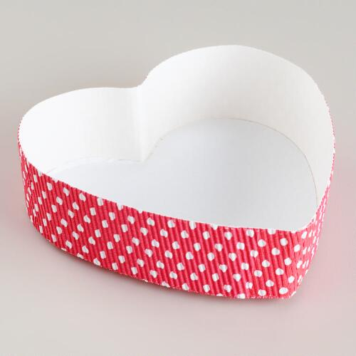 Pink Dot Paper Heart Pans, Set of 6