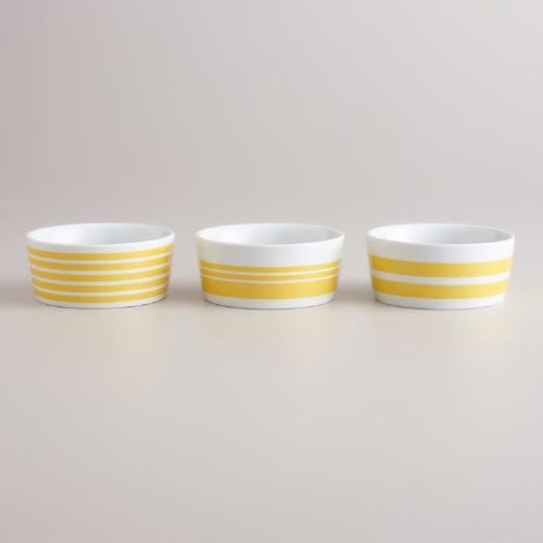 Yellow Striped Ramekins, Set of 3