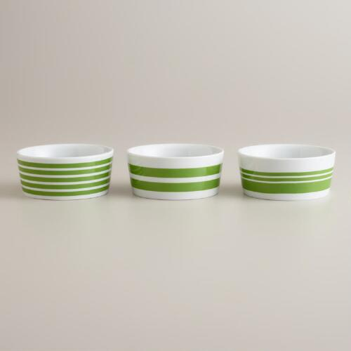 Green Striped Ramekins, Set of 3