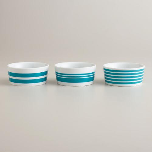 Aqua Striped Ramekins, Set of 3