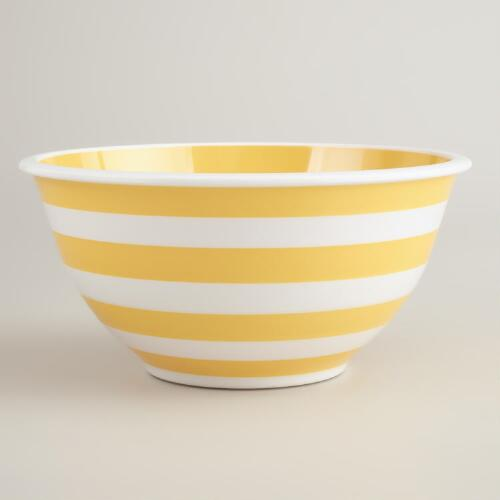 Yellow and White Striped Mixing Bowl