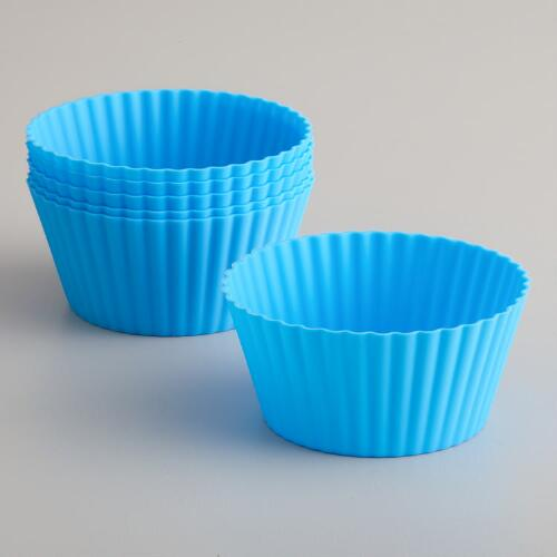 Large Blue Silicone Muffin Cups, Set of 6