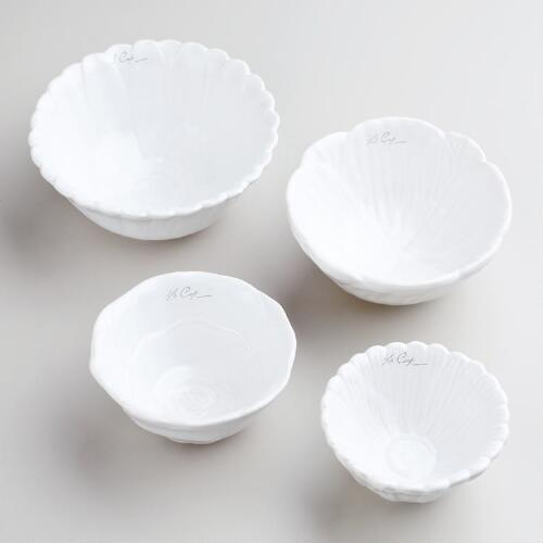 White Flower Measuring Cups, Set of 4