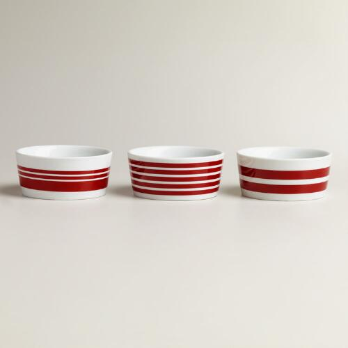 Red Striped Ramekins, Set of 3