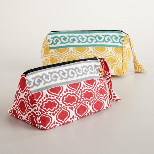 Tile Printed Cosmetic Bags, Set of 2