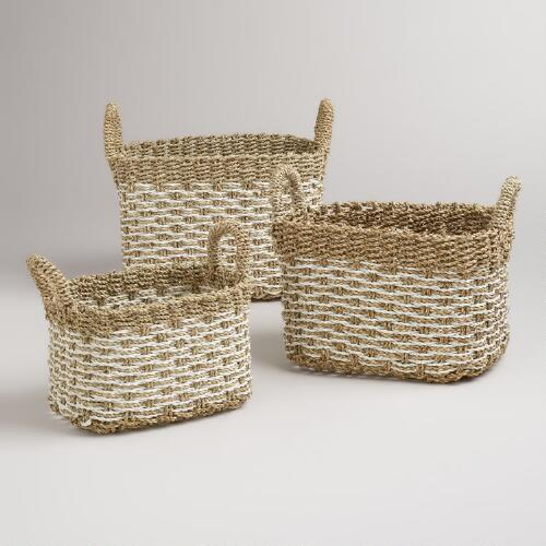 Whitewashed Pandan Vanessa Baskets