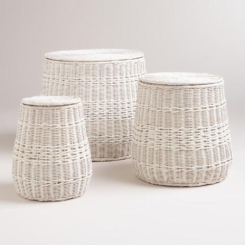 Whitewashed Round Vivian Baskets