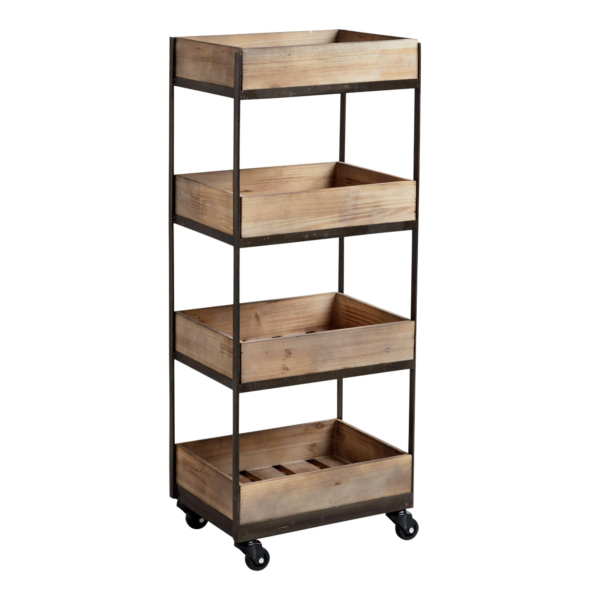 Industrial Rolling Kitchen Cart: 4-Shelf Wooden Gavin Rolling Cart
