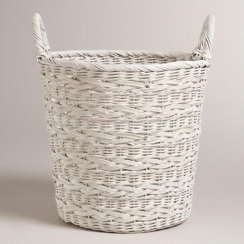 Whitewashed Ashlyn Tote Basket