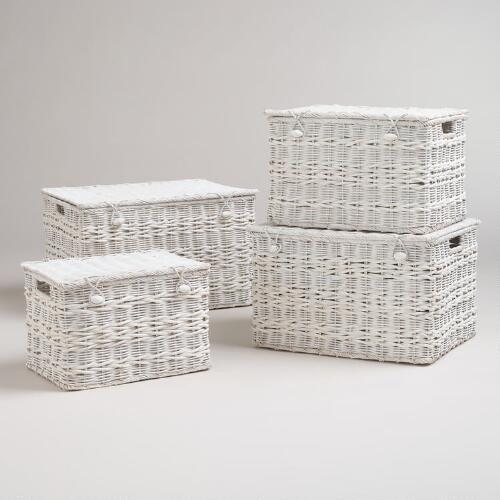 Whitewashed Vivian Trunk Baskets