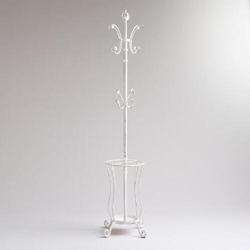 Whitewash Leona Coat Rack and Umbrella Stand