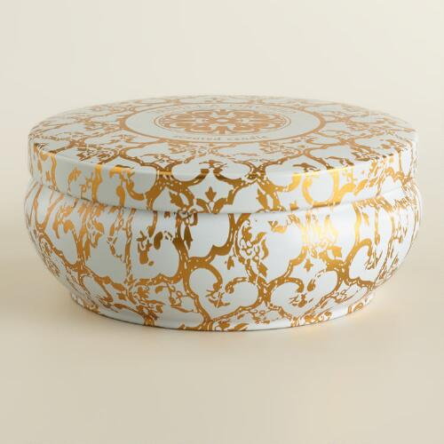 Vanilla and Orchid Printed Candle Tin