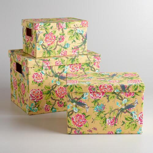 Yellow English Garden Storage Boxes