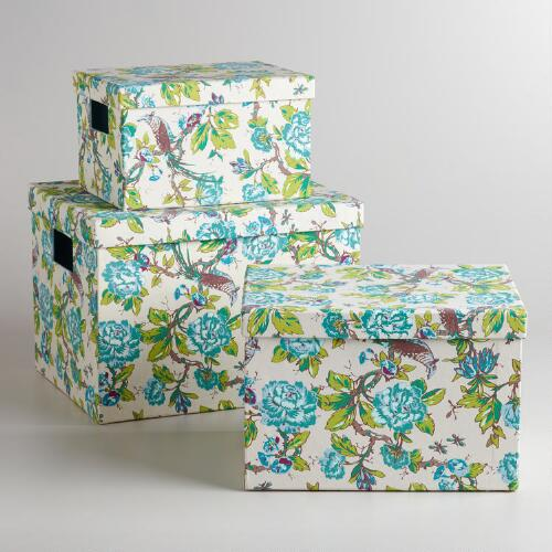 Ivory and Blue English Garden Storage Boxes