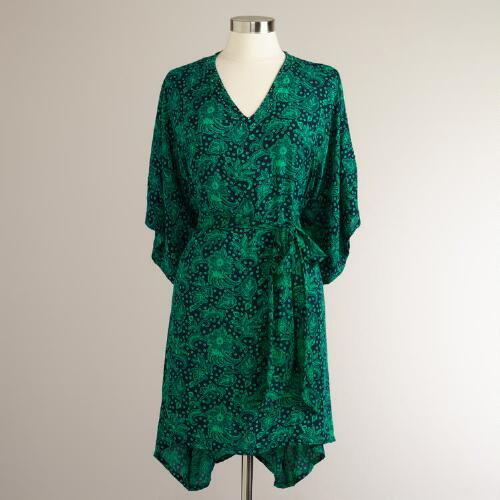 Short Navy and Turquoise Batik Kaftan