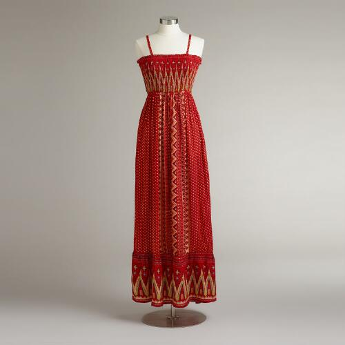 Red Tribal Nisha Maxi Dress