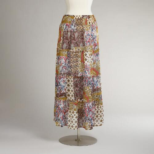 Multicolored Indigo Tiered Varana Skirts